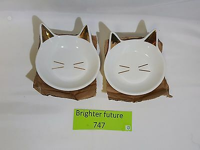 Lot of 2! Francesca's Cat face trinket dish with gold. FreE shipping!