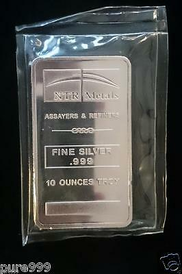 10 oz NTR pure silver bar 10 troy ounces .999 fine silver made by NTR Sealed