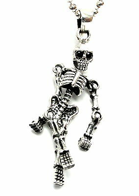 Silver Skeleton Pendant With Black  Diamonds by Sacred Angels
