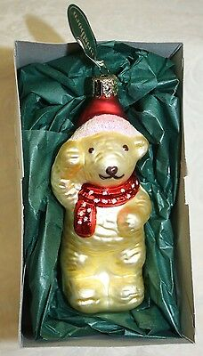 Christborn Handblown Glass Bear Ornament Germany NEW in Box