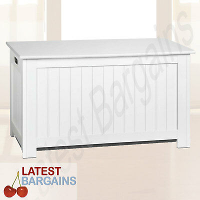 White Storage Bench Bedroom Blanket Chest Cabinet Kids Toy Box NEW