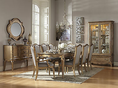 WARDEN-9pcs Traditional Gold Rectangular Dining Room Table Chairs Set Furniture