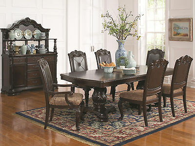DIEGO - 7pcs Traditional Cherry Brown Rectangular Dining Room Table & Chairs Set