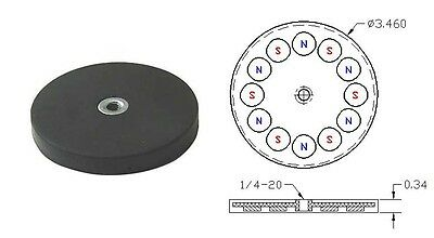 "1pc of D3.46"" x 0.34"" thick Neodymium (NdFeB) Round Base Magnet Rubber Coated"