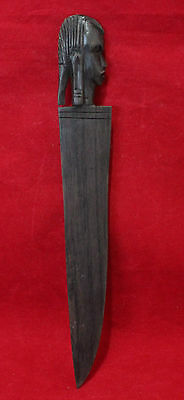 African Tanzanian Carved Wood Figurine - Figural Head Letter Opener/Knife