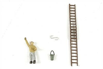 Window cleaner Set + Man - Model Trains OO / HO - Fully painted & assembled