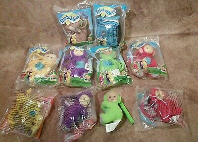 Burger King Teletubbies Set of 6 Plush Clip Tinky Winky La la Po Noo Bunny dolls