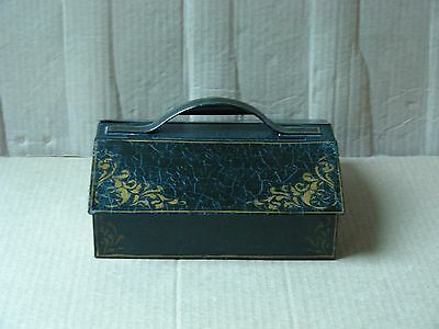 Vintage Black Textured Metal Storage Box With Dual Compartments And Lids