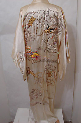 Vintage Cream Silk Kimono Robe Padded Dragon Embroidered EDIE ADAMS Japan M