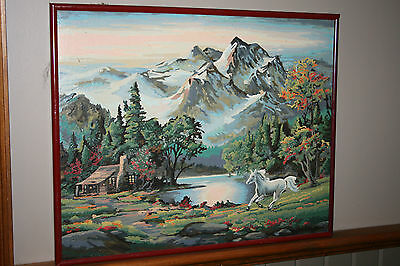Vintage Paint By Number PBN Oil Painting Mountain Horse Cabin Scene