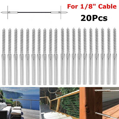 Stainless Steel DIY Rope Balustrade Kit 3.2mm Swage 2 x Lag Screw Term - 20 pack