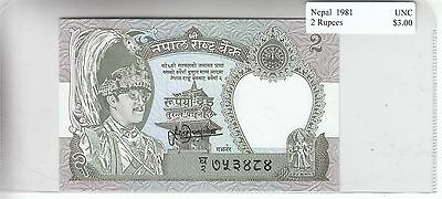 Nepal 2 Rupees 1981 UNC Uncirculated