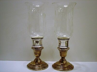 Vintage International Sterling Silver Etched Glass Hurricane Candle Lamps