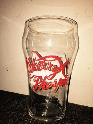 Vntg CHERRY PHOSPHATE Soda Fountain Shop Large 32 oz Soda Glass ADVERTISING