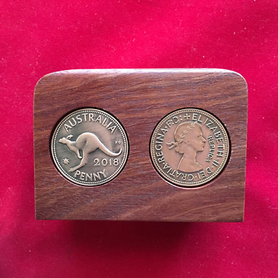 2018th Birthday Gift Present Jarrah Plaque w 2018 Pennies. Other years available