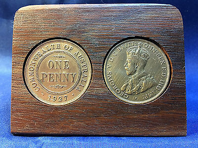 90th Birthday Gift Present Jarrah Plaque with 1928 original pennies +other years