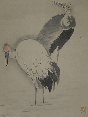Hanging Scroll Japanese Painting Crane Asian art Antique Picture ink Japan f30