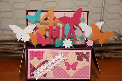 Birthday Girl Butterflies Handmade card in a box, personalised