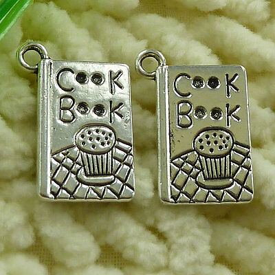 free ship 50 pieces tibetan silver Cook Book charms 19x11mm #2783