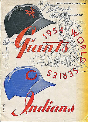 Original 1954 World Series Program Giants Indians Signed Autograph Leo Durocher