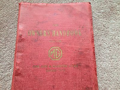 MG OWNERS HANDBOOK one and a quarter litre
