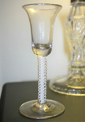 Georgian Double Series Opaque Twist Stem Wine Glass with Bell Bowl c.1760
