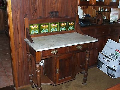 Huon Pine Marble Topped Washstand