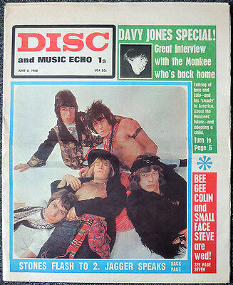 Disc & Music Echo 8 June 1968 . Rolling Stones Front Cover . Not Nme
