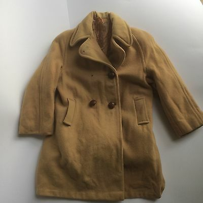Vintage 1960s Girl Boy Double Breasted Camel Coloured Wool Jacket Overcoat 3-4-5