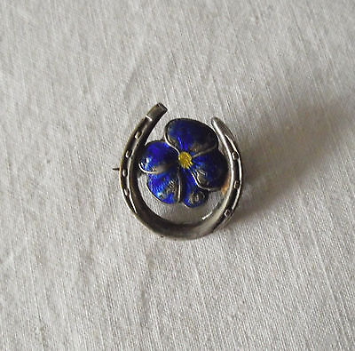 Beautiful Victorian Silver Plated Horse Shoe Pansy Flower Brooch with Enamel