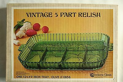 Vintage Indiana Glass 5 Part Relish/Fruit Dish/Tray (Green) In Original Box