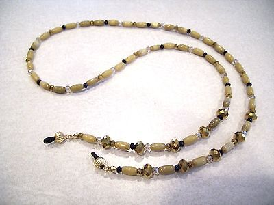 Golden Crystal Bead Eyeglass Holder Chain Necklace Gold Tone Classic OOAK
