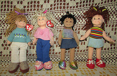 "Vintage TY Teenie Beanie Boppers Doll Figures 2002 Lot Of 4Each is 9"" Tall"