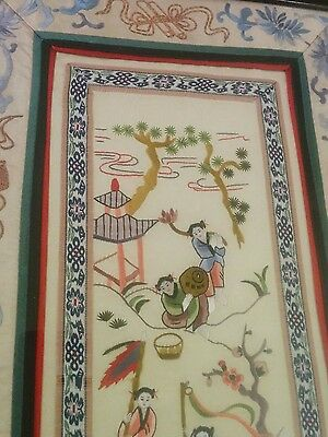 Antique Chinese large embroidered panel 1900s