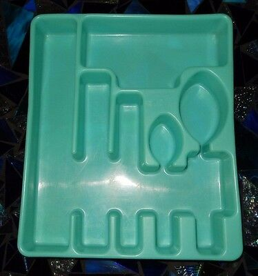 Vintage Rubbermaid Turquoise/Aqua Silverware Holder/Tray~Early Rubbermaid Logo!