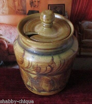 Vintage Pru Green Welsh Gwili Studio Pottery Lidded Preserve / Jam / Honey Pot