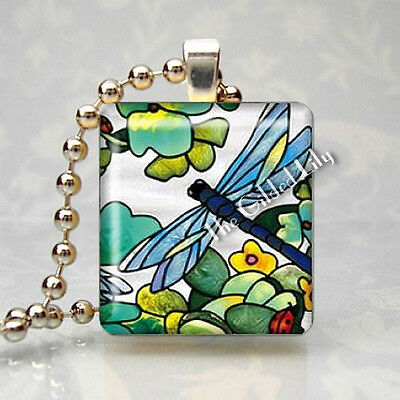 DRAGONFLY INSECT AND FLOWER Scrabble Tile Altered Art Pendant Jewelry Charm