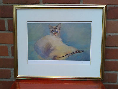 Framed limited edition print of a Siamese cat. Signed Sykes.