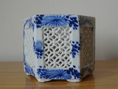 c.18th - Antique Chinese Blue And White Porcelain Octagonal Shape Brush Pot