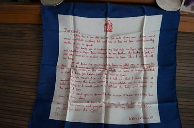 KING EDWARD VIII (8th) ABDICATION SPEECH ON A 1936 SILK SCARF A KINGS FAREWELL