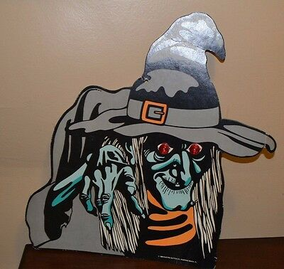 Vintage 1988 Cardboard Witch Light Up Eyes Halloween Decoration Cut Out RARE
