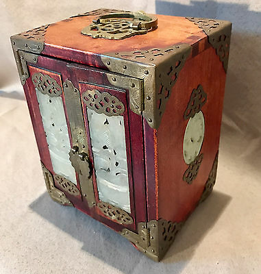 Antique Chinese Wood and Brass w/Carved Soapstone Jewelry Box