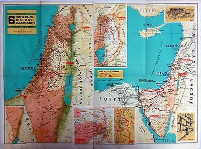 Map Of The Six Day War, Israel, 1967