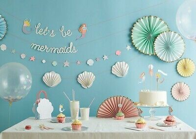 MERI MERI Let's be Mermaids Party Collection - Garland, Plates, Napkins, Toppers
