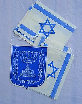 Original Independence Day Pack Of Israel Flags And The State's Emblem, 1960s