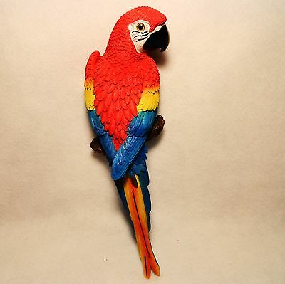 """STUNNING Large 15"""" cast hand painted SCARLET MACAW  Red Parrot Wall Hanging"""