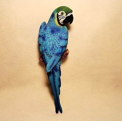 """STUNNING Large 15"""" cast hand painted BLUE MACAW  Blue Green Parrot Wall Hanging"""