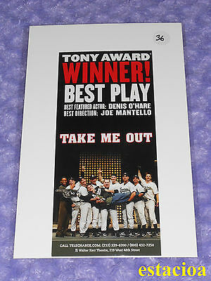 Take Me Out Original Broadway Flyer, NEW, Walter Kerr Theatre, Denis O'Hare