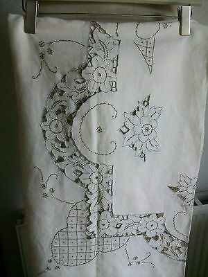 """Vintage Linen Hand Embroidered Madeira Work Tablecloth + 8 Napkins, 88""""x68"""""""