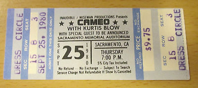 1980 Cameo Kurtis Blow Sacramento Concert Ticket Stub The Breaks Tour Word Up